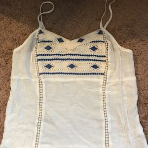 Maurices white tank with blue detail